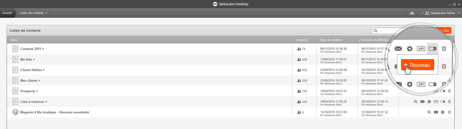 Screen Sarbacane - Editeur formulaire liste