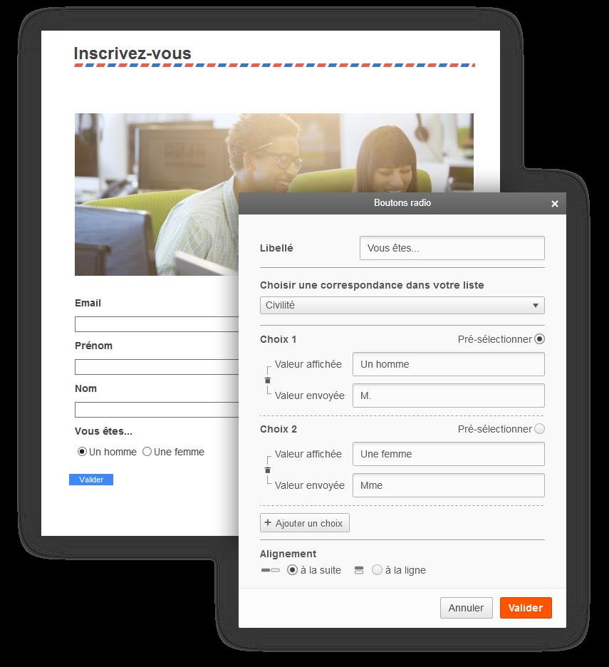 Screen Sarbacane - Editeur formulaire popin formulaire