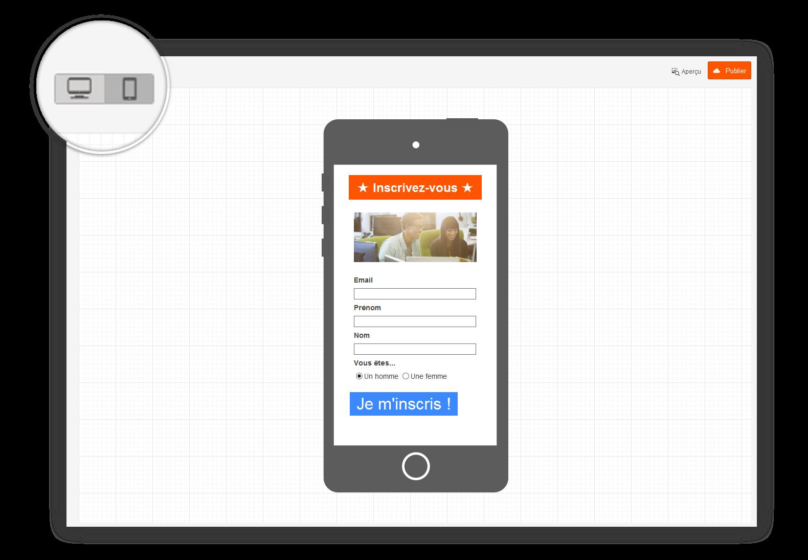 Screen Sarbacane - Editeur formulaire responsive