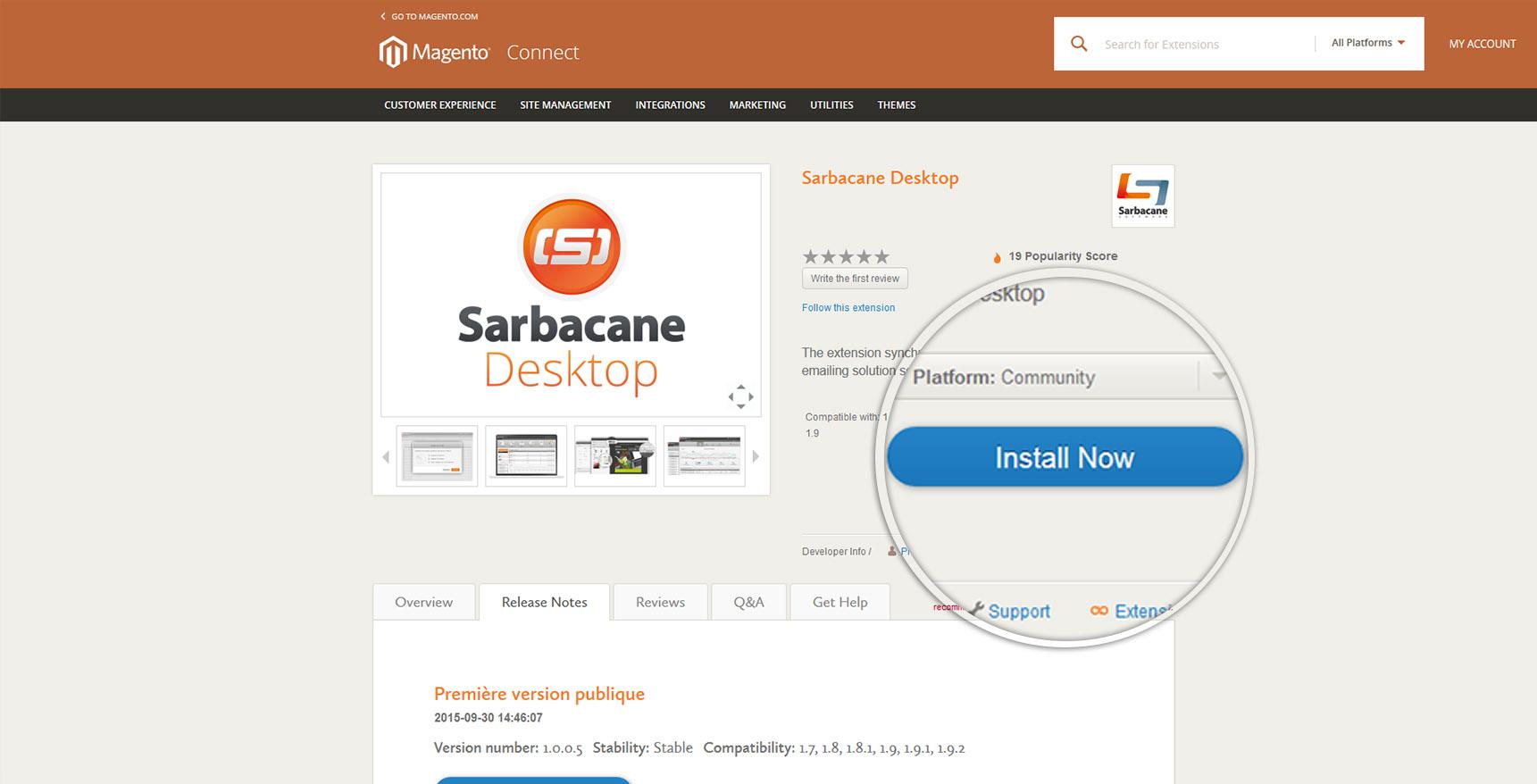 Screen Sarbacane - install Magento