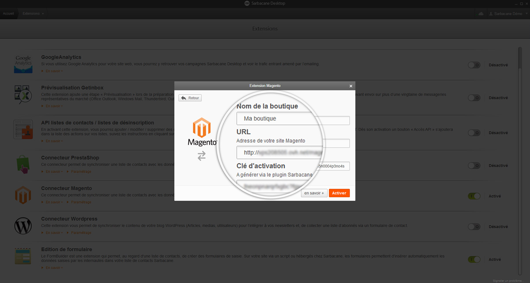 Screen Sarbacane - Url magento