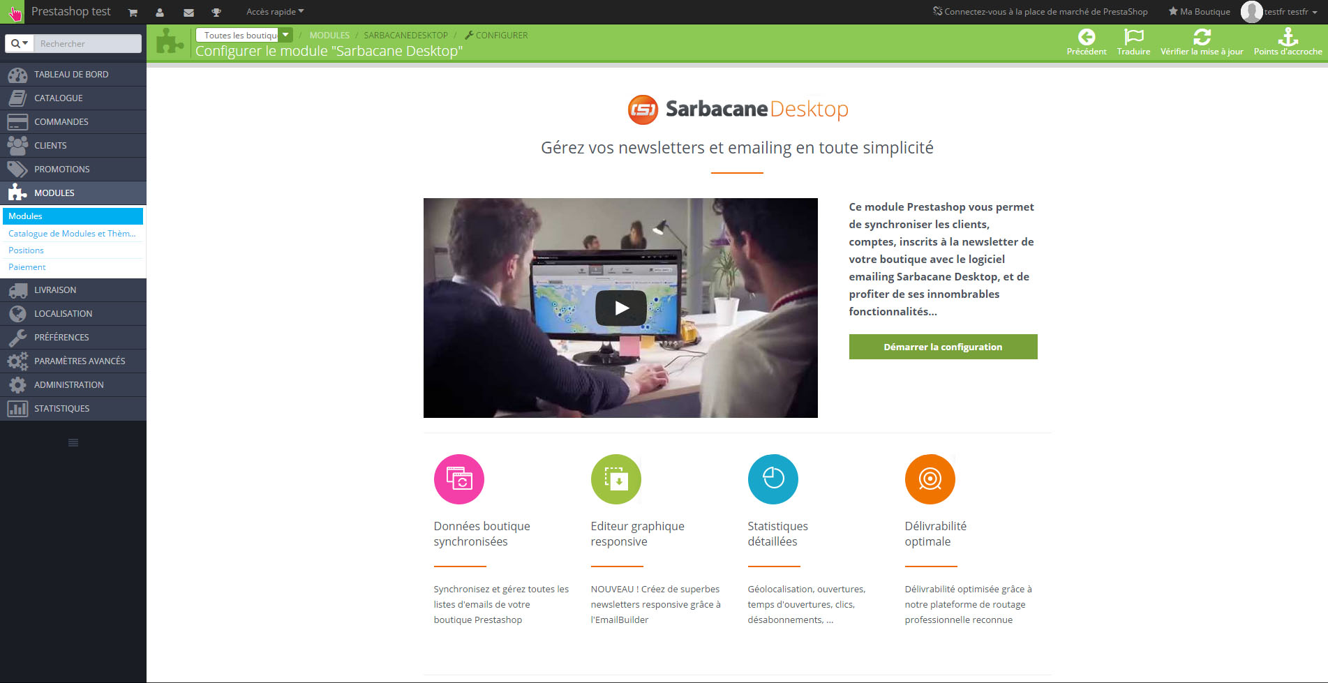 Screen Sarbacane - Install PrestaShop