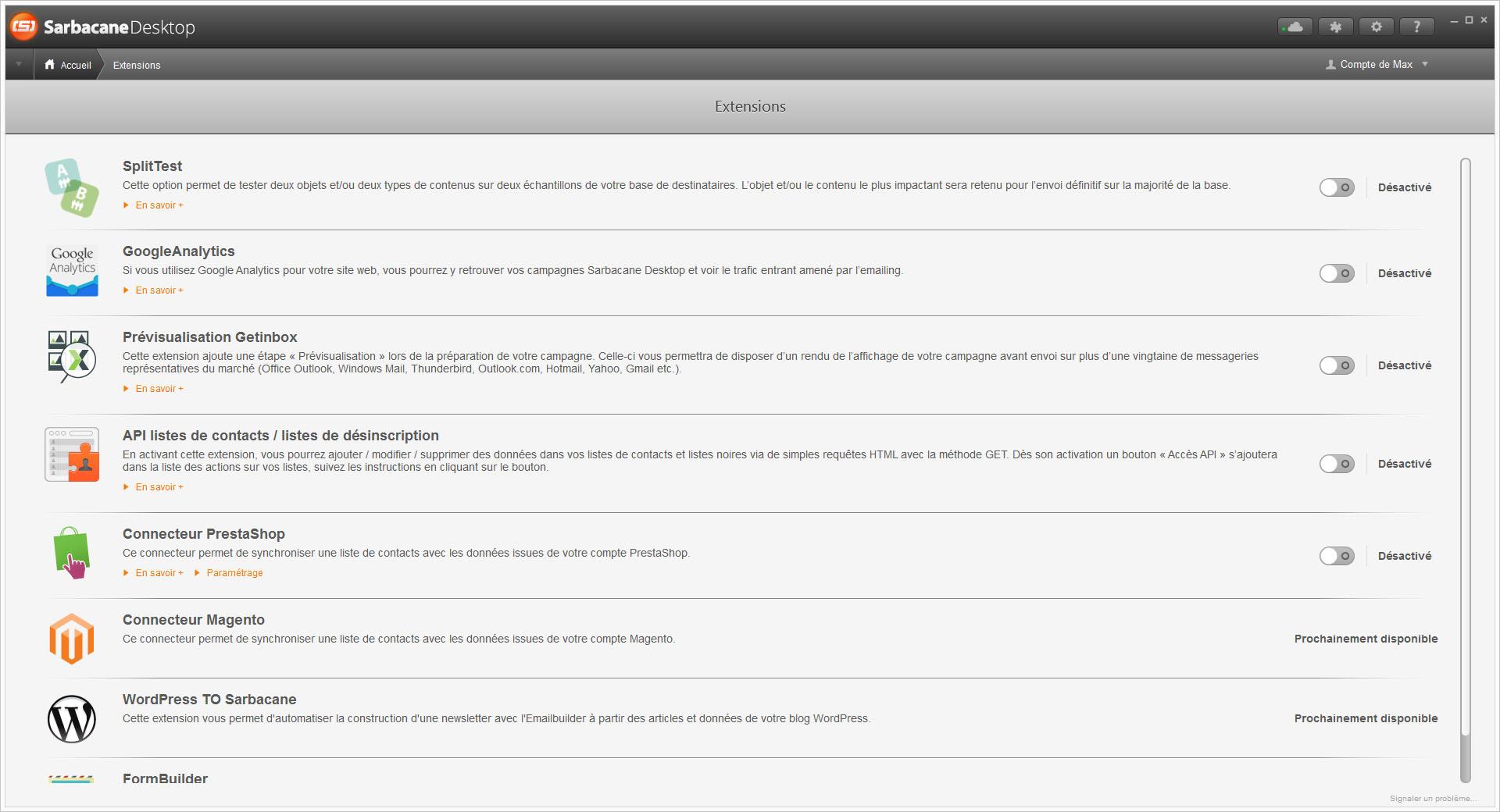 Screen Sarbacane - Liste Extension