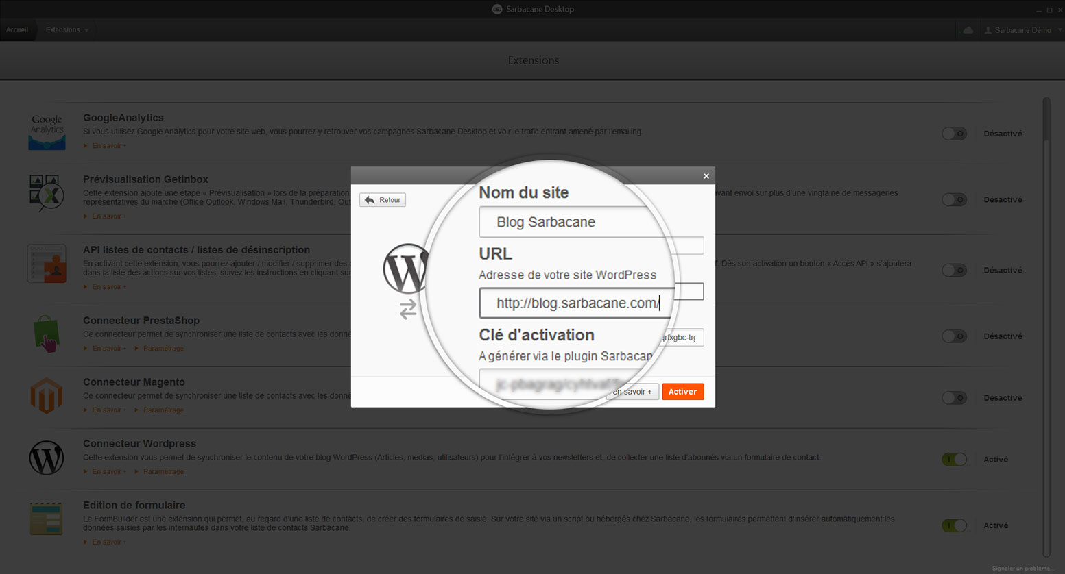 WordPress insert key